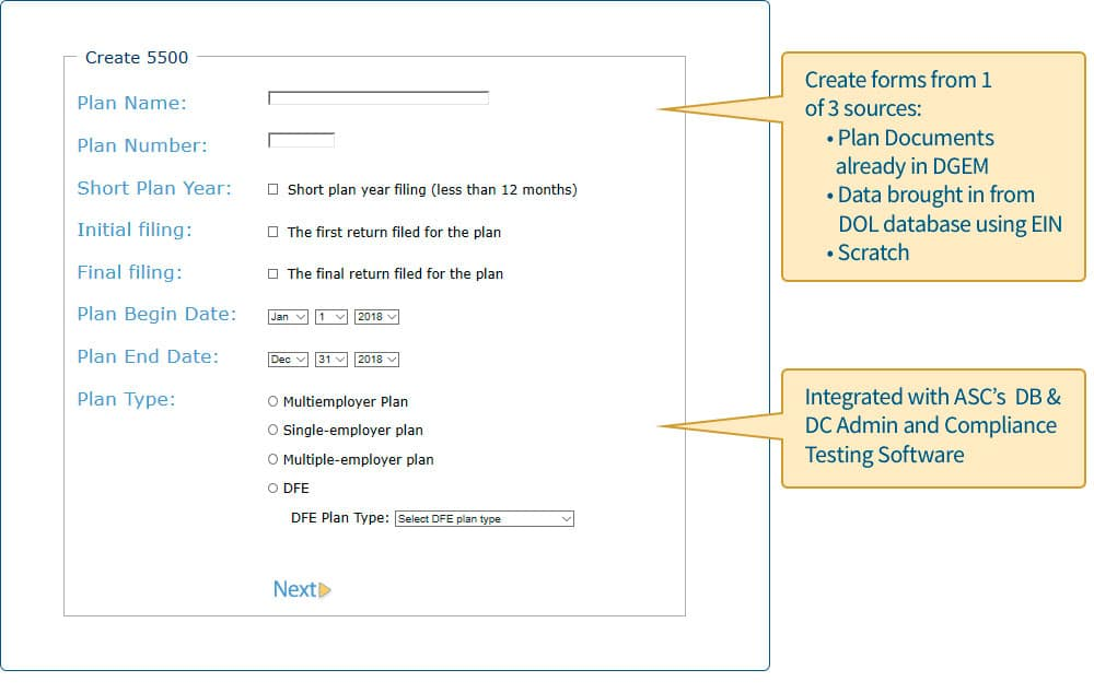 Create 5500 form Screenshot